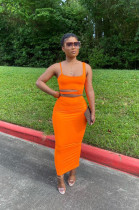 Orange Simplee Sleeveless Strappy Hollow Out Tank Top Bodycon Skirt Sets BBN060
