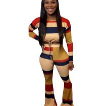 Winter Stretchy Multicolor Stripe Two-Piece Colors Patchwork Pants Sets D8319