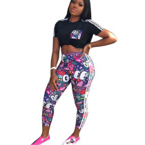 Casual Cartoon Print T Shirts Bodycon Pants Outfits LS6273