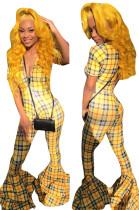 Deep V Neck Plaid Yellow Flare Pants Jumpsuits H1077