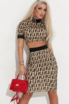 Letter Graphic Crop Top & Side Stripe Mid Rise Skirt Set HHM6100