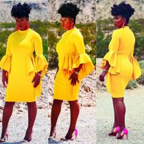 Women Elegant Pure Color Flare Sleeves Midi Dress M860