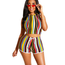 Red Hoodie Crop Tops Striped Shorts Two Pieces Sets MA6198