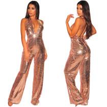 Fashion Backless Halter Neck Shiny Jumpsuits JLX8590