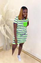 Green Stripes Panel Flat Pocket Mini Dress SDD9248