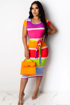 Colourful Simplee Polyester Colorblock Short Sleeve Round Neck Spliced Hollow Out Bodycon Skirt KF158