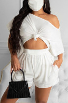 White Casual Polyester Short Sleeve Tee Top Shorts Sets R6308
