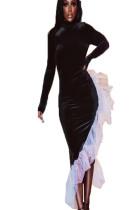 Black Pleuche Long Dress with Frill Trim HH8900