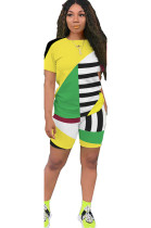 Yellow Patched Color T-shirt & Shorts Sets GL6263