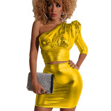 Red Shiny One Shoulder Leg-Of-Mutton Sleeve & Skirt Set BS1162
