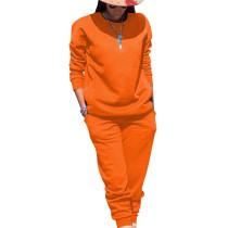 Orange Sport Plain Color Comfy Sets Simple T Shirt Skinny Pants TRS991