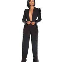 Black Single Blazer Flare Detail & Pants SetYX9177
