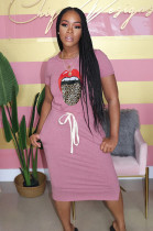 Pink Mouth Graphic Print Shirred Detail Self-tied Long Dress QZ6085