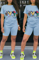 Light Blue Casual Polyester Letter Short Sleeve Round Neck Tee Top Shorts Sets HHM6322