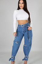ripped details loose belted jeans