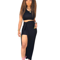 Black Tank Crop Tops Long Skirts Two Pieces Sets YT3152