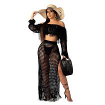 Black Crochet Tassel Fringe Skirts Two Pieces Sets SN3554