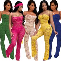 Sexy Pure Color Spaghetti Strap Lace Jumpsuits XZ2059