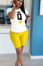 Yellow Casual Polyester Letter Short Sleeve Round Neck Tee Top Shorts Sets YYF8104