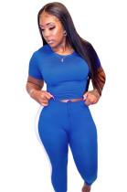 Blue Side Stripe Print Crop Top & Shirred Detail Pants Set AMM8222
