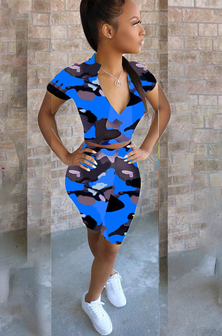 Blue Casual Camo Short Sleeve Tee Top High Waist Skinny Pants Sets HM5286