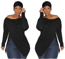 Black Zipper Long Sleeves Off Shoulder Hoodies H1080