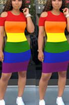 Casual Polyester Rainbow Stripe Short Sleeve Round Neck Shift Dress OMM1153