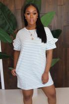 White Stripes Wave Ruffles Short Sleeve Dress LD8681
