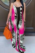 Casual Polyester Sleeveless V Neck Slant Pocket Slip Dress SMR9641