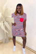Red Stripes Panel Flat Pocket Mini Dress SDD9248