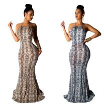 Snake Print Halter Neck Backless Long Dress QZ4535