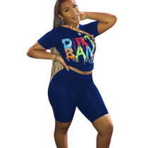 Blue Letter Print T Shirts Midi Shorts Two Pieces Sets F8215
