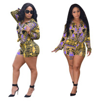 Leisure Printing Suits Women Shirt Bodycon Shorts YZ1670
