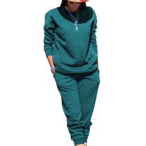 Malachite Blue Sport Plain Color Comfy Sets Simple T Shirt Skinny Pants TRS991