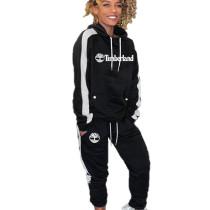 Black Long Sleeve Hooded T Shirt Elastic Waist Pants Fashion Tracksuits HG5298