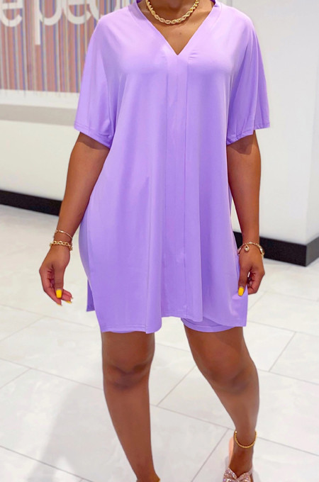 Purple Casual Polyester Short Sleeve V Neck Split Hem Tee Top Shorts Sets WY6678