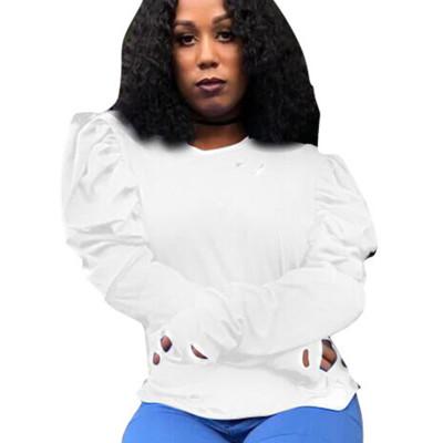 White Round Neck Bishop Sleeve Shirt Blouse S6188