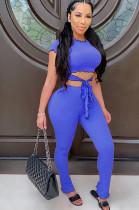 Blue Casual Short Sleeve Round Neck Wavy Ruffles Tee Top Long Pants Sets CM753