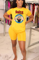 Yellow Casual Polyester Cartoon Graphic Short Sleeve Round Neck Tee Top Shorts Sets YYF8095