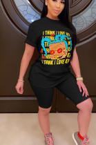 Black Casual Polyester Cartoon Graphic Short Sleeve Round Neck Tee Top Shorts Sets AA5135