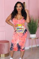Pink Comic Graphic Print Cami Long Dress TK6077