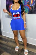Blue Sexy Polyester Letter Sleeveless Tank Dress YSH6148
