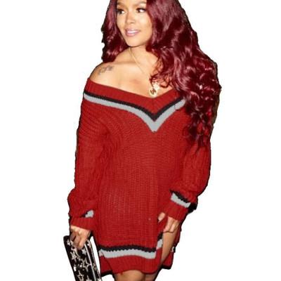 Trendy Female Sweater Loose Fitting Winter Bandage Split Dress YS322