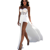 White Sexy Women's Strapless Lace Patchwork Side Slit Long Jumpsuit ZS0258
