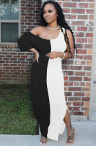 Black White Casual Short Sleeve Spliced High Waist Long Dress TRS1018
