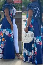 Blue Casual Polyester Floral Sleeveless Flounce High Waist A Line Dress OMY8057