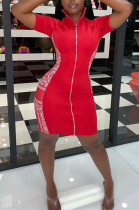 Red Sexy Polyester Short Sleeve Stand Collar Mid Waist Mini Dress AA5169