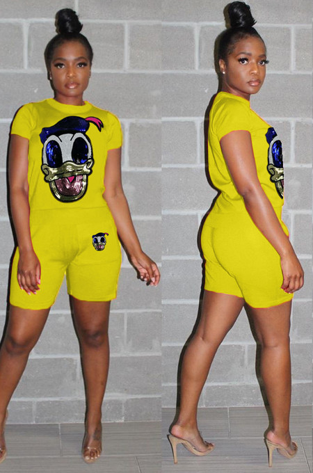 Yellow Casual Polyester Cartoon Graphic Short Sleeve Round Neck Beaded Tee Top Straight Leg Pants Sets HHM6130