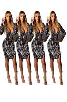Women Cheap Bodycon V Collar Printing Dress MDO8023