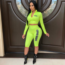 Women Hot Sale Letters Printing Bodycon Track Suits CY1088
